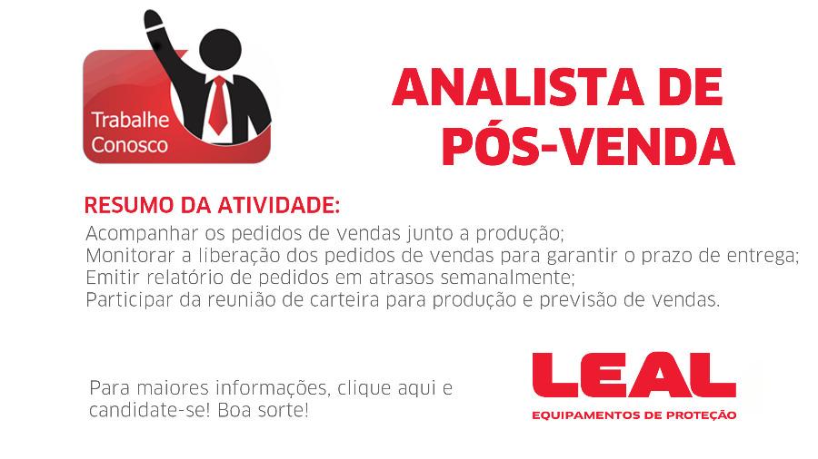 VAGA - ANALISTA DE PÓS-VENDA