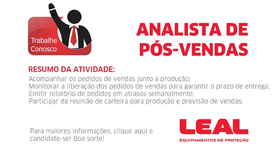 VAGA - ANALISTA DE PÓS-VENDAS