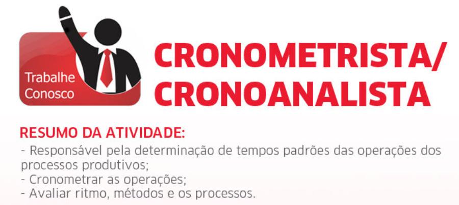 VAGA - CRONOMETRISTA/CRONOANALISTA